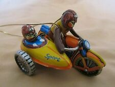 Vintage ZZ Germany Christmas Metal Tin Ornament Toy Sport Side Car Motorcycle