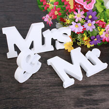 White Wooden Mr & Mrs Letters Mr & Mrs Sign Top Table Wedding Gift  Decoration