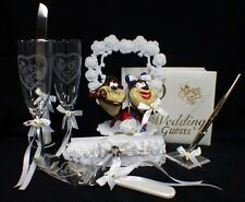 TASMANIAN DEVIL TAZ wedding Cake topper LOT glasses server guest book garter