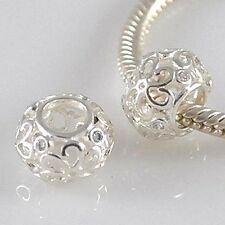 FILIGREE FLOWER-Daisy-Openwork-CZ- Solid 925 sterling silver European charm bead