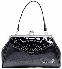 SOURPUSS Spiderweb Backseat Baby Purse Black vintage shape kiss-lock Punk retro
