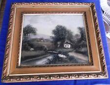 Antique/Vintage Original Reverse Painting On Glass With Ornate Wooden Frame