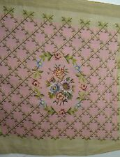 BEAUTIFUL VINTAGE NEEDLEPOINT PIECE WITH PETIT POINT FLOWERS ON A ROSE GROUND SS