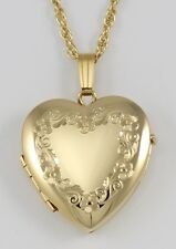 14k Gold-Filled Heart Four Photo Locket w/ Border with 18 Inch Chain Made in USA