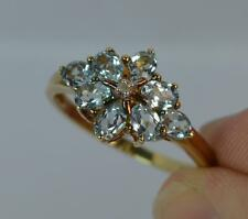 Stunning 1.20ct Aquamarine & Diamond Ladies 9ct Gold Cluster Ring f0984