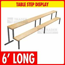 2 Step Display 6ft Long 9in x 9in Steps Table Mounted Market Stalls Shop