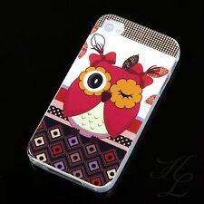 Apple iPhone 4 / 4S TPU Silikon Schale Case Schutz Hülle Eule Blink Owl Etui