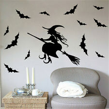 Halloween Witch Bat Decoration Wall Paper Art Removable Sticker Decals Santa GS
