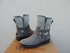 UGG SIMMENS CHARCOAL LEATHER/ WOOL WATERPROOF ANKLE BOOTS, US 7/ EUR 38 ~NEW