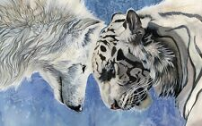 WHITE TIGER And WOLF ART IMAGE A4 Poster Gloss Print Laminated