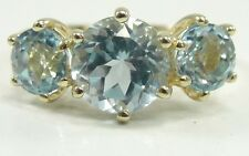 10K Yellow Gold Sky Blue Topaz Ring Round 3 Stones Size 10 Prongs Set