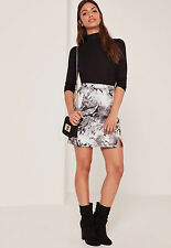 Missguided grey reptile print scuba a line skirt size 10