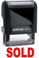 SOLD stamp text on IDEAL 4911 Self-inking Rubber Stamp with RED INK