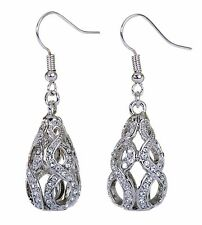 Swarovski Elements Crystal Drop Abstract Earrings Rhodium Plated New 7146x