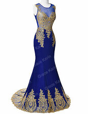 GOLD APPLIQUE Long Wedding Evening Dresses Party Ball Gown Prom Bridesmaid Dress