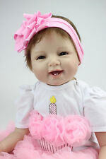 55cm Realistic Handmade Reborn Baby Doll Girl Silicone Vinyl/Magnetic pacifier