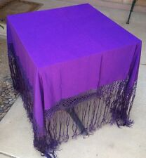 Purple Silk Piano Shawl Antique Victorian Tablecloth Fringe Tassels Scarf Wrap
