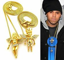 MENS ICED OUT HIP HOP GOLD MICRO CROWN ANGEL PENDANT BOX CHAIN NECKLACE SET OF 2