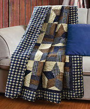 WOODLAND STAR THROW : COUNTRY CABIN LODGE 5 POINT BLUE PLAID QUILTED BLANKET