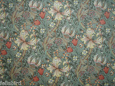 "WILLIAM MORRIS CURTAIN FABRIC ""Golden Lily Minor"" 3.6 METRES ARTICHOKE & VANILLA"