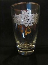 Libbey Glass Tumbler White Rose & Gold Bows/ Ribbon