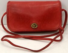 Vintage Coach Purse Red Leather Women's Messenger Cross-body Shoulder Handbag