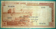LEBANON 1 POUND  / LIVRE / NOTE FROM 1961, P 55 a , no security strip
