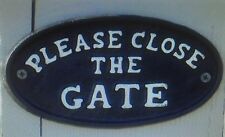 PLEASE CLOSE THE GATE Black Sign Fence Cast Iron Plaque NEW Oval Dog Classy Shut