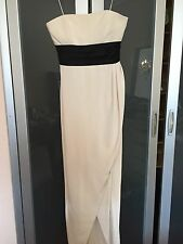 NWOT Notte By Marchesa White Strapless Gown With Black Empire Waist Size 4
