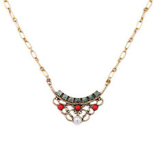 N509 Pearl Crystal Ruby Vintage Gold Pendant Necklace Trending Jewelry for Women
