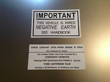FORD Escort MK1 1100 1300 1600 Coolant and Negative Earth sticker decals