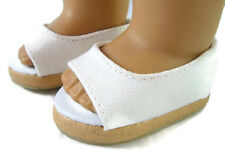 """White Canvas Espadrille Sandals Shoes for 18"""" American Girl Doll Clothes"""