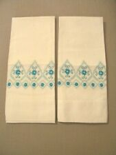 Vintage Pillowcase Set Hand Embroidered Turquoise Cotton