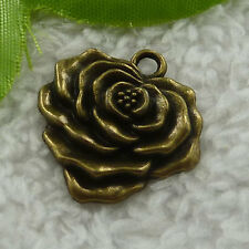 Free Ship 60 pcs bronze plated flower charms 25x23mm #2528