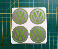4 x 60mm ALLOY WHEEL STICKERS VW logo Lime Green on Silver centre cap badge