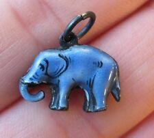 VINTAGE Antique Sterling Enamel Blue ELEPHANT Silver Bracelet Charm