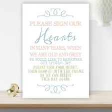 Pastel Coloured Sign Our Hearts Wedding Guest Book Table Sign White Card (C22)
