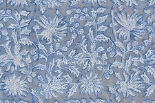2.5 Yard Indian Hand Block Print Fabric 100 % Cotton Blue Floral Print Fabric