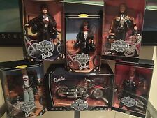 5 different Harley Davidson Barbie/Ken Dolls plus Harley Barbie Motorcycle
