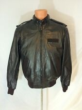 Vintage 1980s Members Only Leather Cafe Racer Bomber Jacket Dark Brown Size 42
