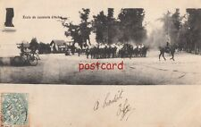 c1906? FRANCE Ecole de cavalerie d'Autan, horse calvary, old bicycle town square