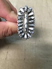 Native American Womens White Buffalo Turquoise Cluster Ring Size 10 Navajo Wow!