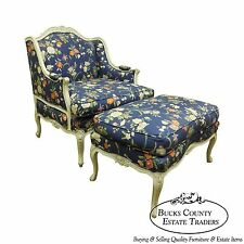 Quality Wide Seat French Louis XV Style Bergere w/ Ottoman Chaise Lounge