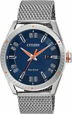 NEW Citizen DRIVE BM6990-55L Men's CTO Stainless Steel Mesh Band Blue Dial Watch