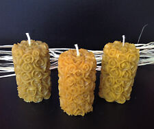 3 PCS NATURAL HANDMADE BEESWAX CANDLES