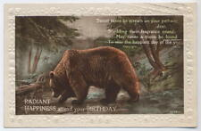 Poetic Brown Bear Birthday card, Rock Ferry Birkenhead superb Krag cancel 1927
