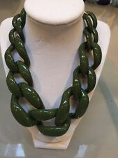 NWOT Olive Green Army Green Link Statement Necklace Anthropologie