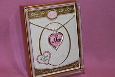 """GLASS BARON MOM I LOVE YOU PINK HEART W/22K GOLD ACCENT 18"""" PENDANT"""