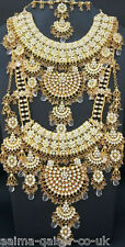 INDIAN BRIDAL STYLE 8 PIECE JEWELLERY SET GOLD PLATED CLEAR STONES NEW AQ-004