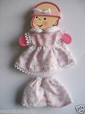 Doll Clothes pink floral dress set for ooak polymer clay 4 in. 5""